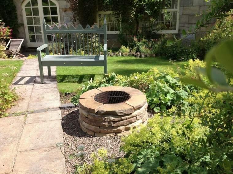 banco madera pozo fuego jardin cesped ideas