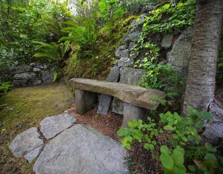 banco natural muros rocas ambiente