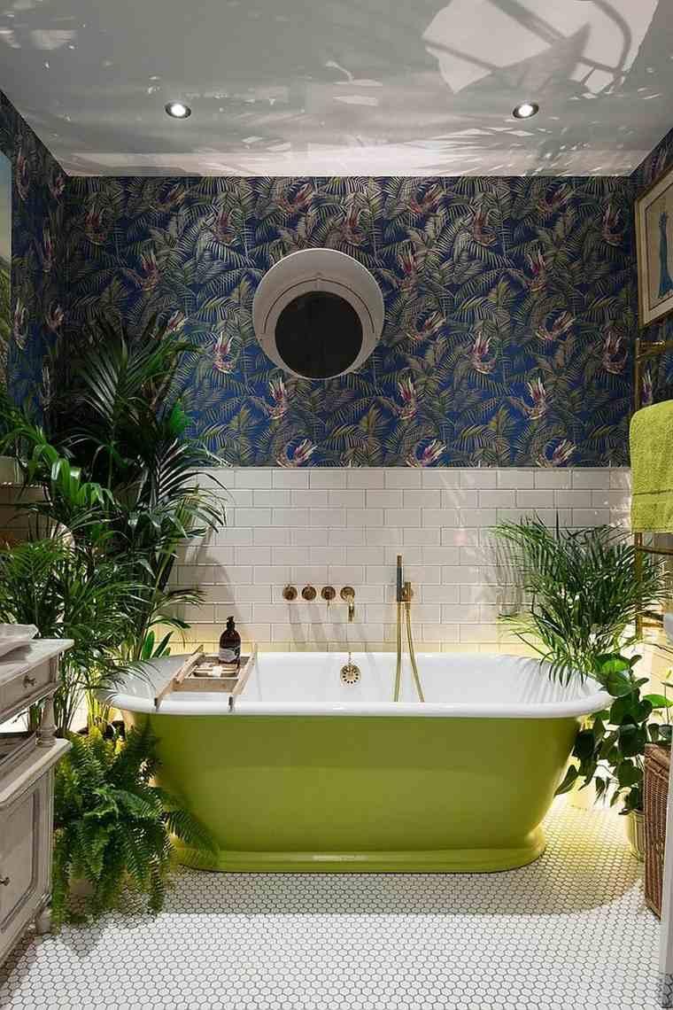 banera verde plantas tropicales bano inpirado jungla ideas