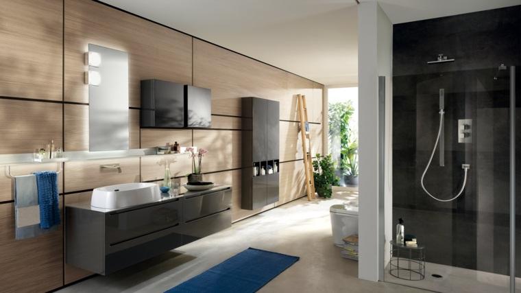 bano lujoso amplio pared madera lavabo negro ideas