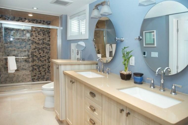 bano moderno opciones decoracion dos lavabos espejos redondos ideas