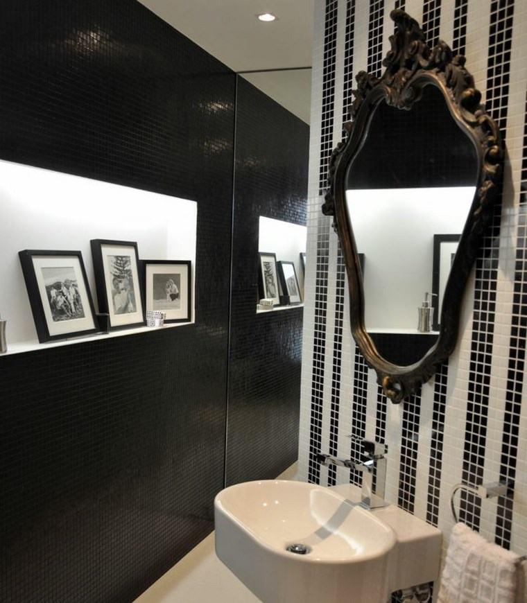 bano moderno opciones decoracion espejo forma original ideas
