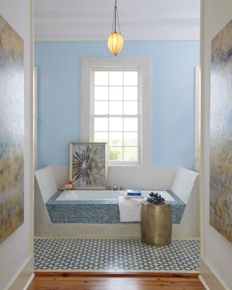 bano moderno opciones decoracion pared azul mosaico ideas