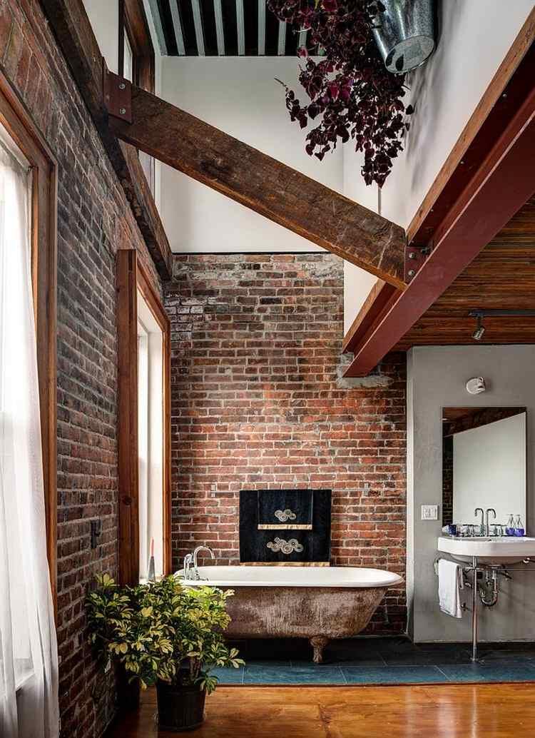 bano pared ladrillo elementos vintage bano moderno ideas