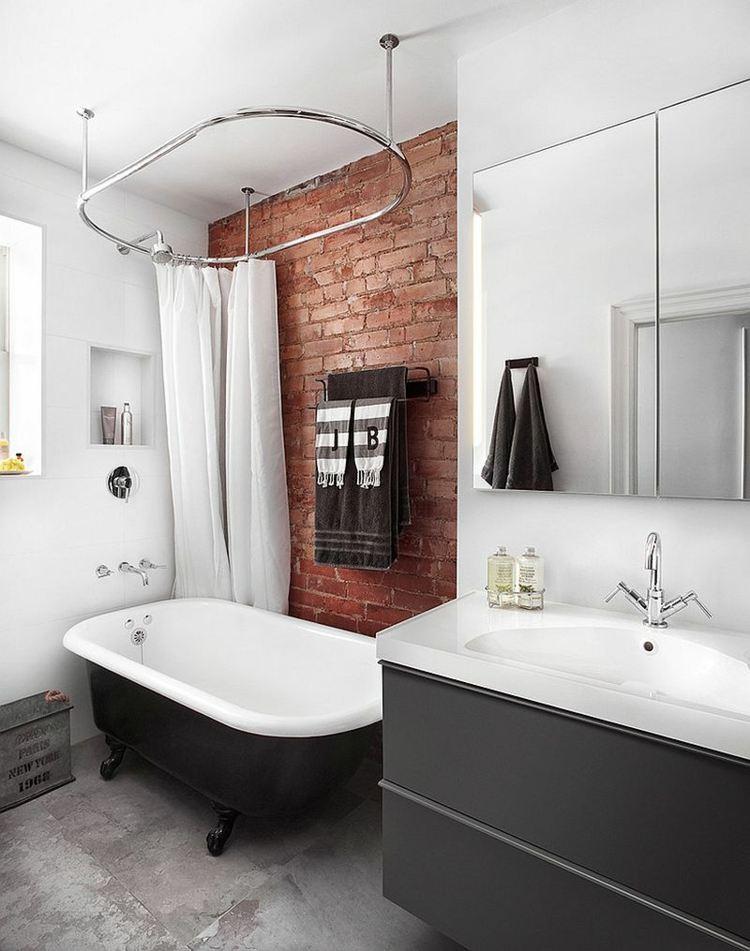 Decoracion ba os con paredes de ladrillo y dise o moderno for Paredes estilo industrial