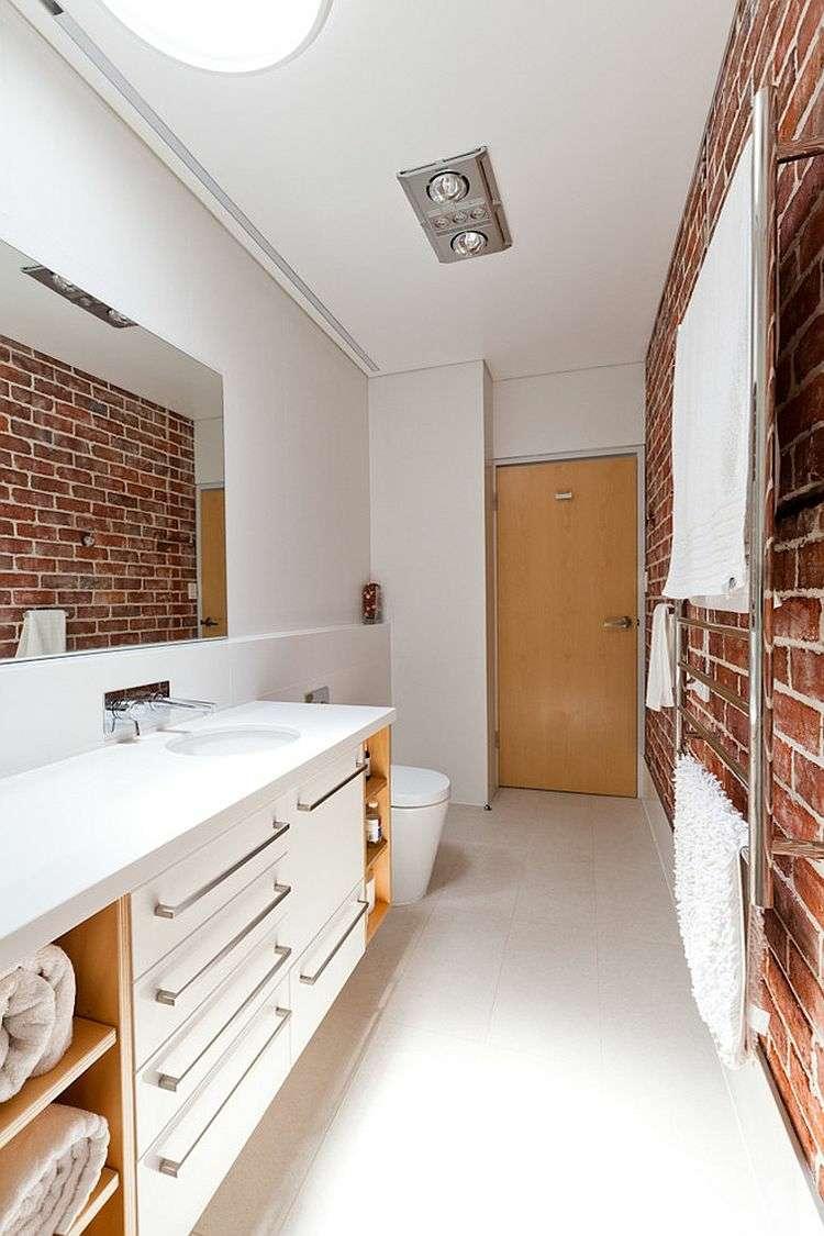 Decoracion ba os con paredes de ladrillo y dise o moderno - Muebles con ladrillos ...