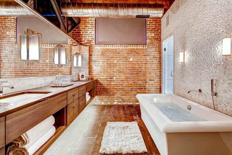 Decoracion Baño Grande:Decoracion baños con paredes de ladrillo y diseño moderno -
