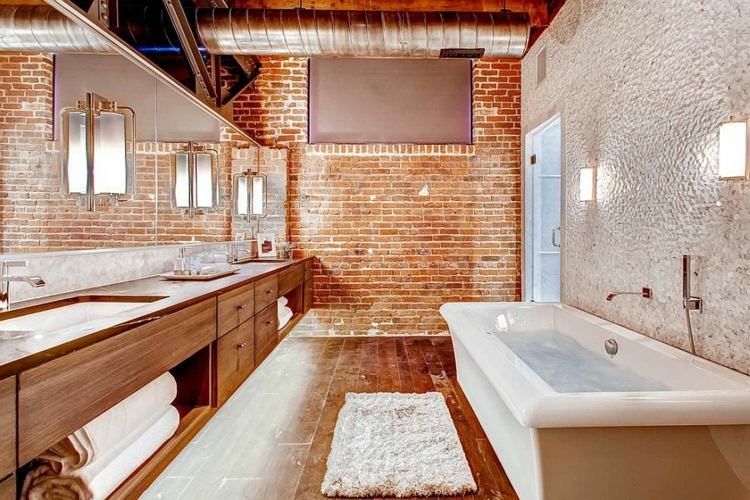 Lámparas De Pared Para Baño:bano pared ladrillo lamparas pared ideas