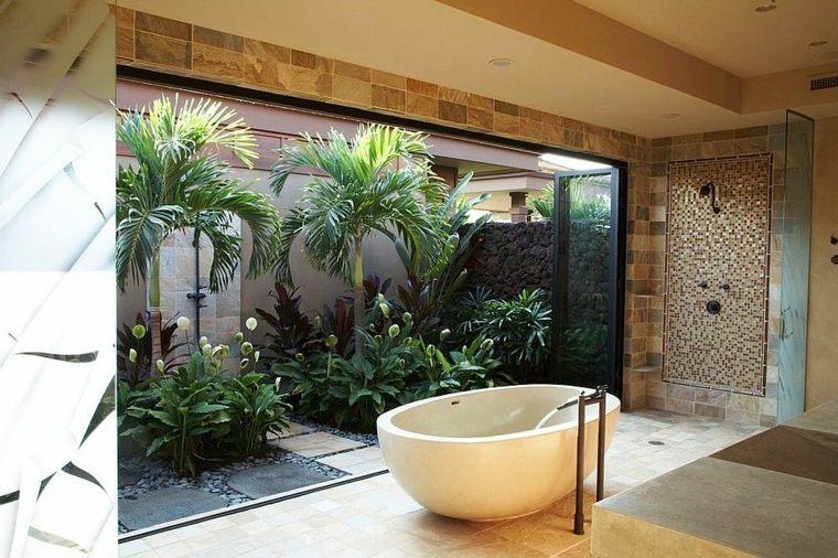 bano tropical invita plantas tropicales jardin dentro ideas