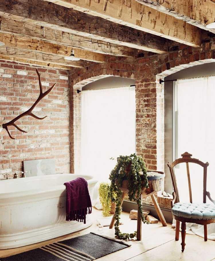 Decoracion ba os con paredes de ladrillo y dise o moderno for Banos disenos rusticos