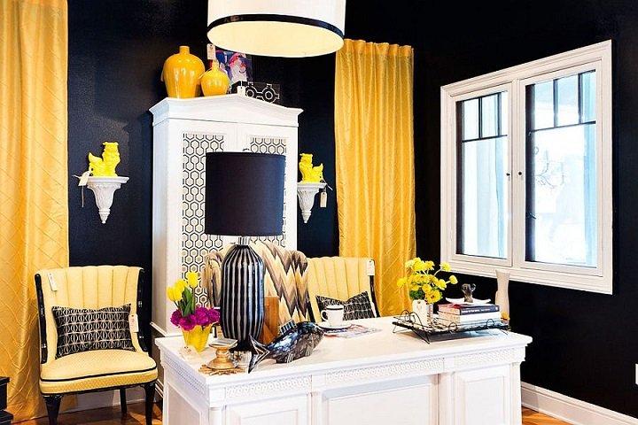 blanco y negro cortinas colores estantes jarrones