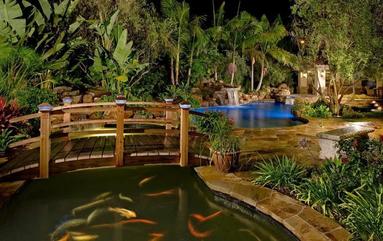 bonito dieño jardín lujoso puente