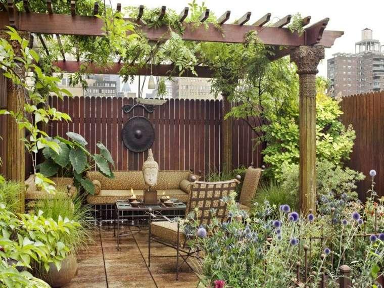 bonita terraza pérgola madera deco