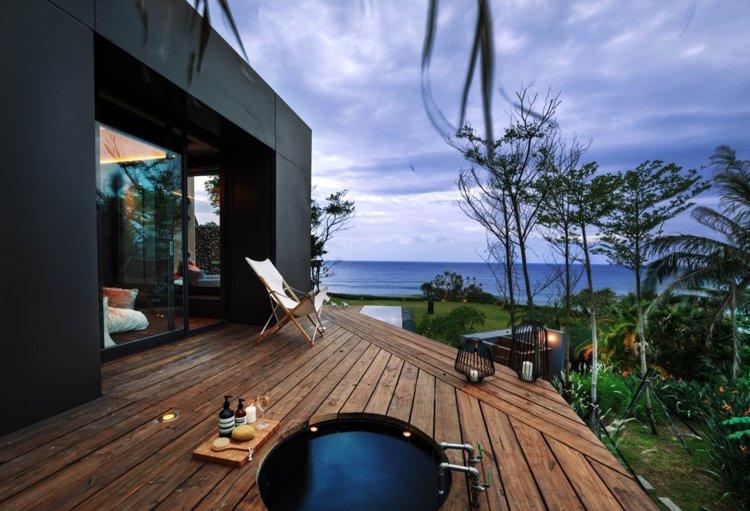 bonita terraza madera plataforma
