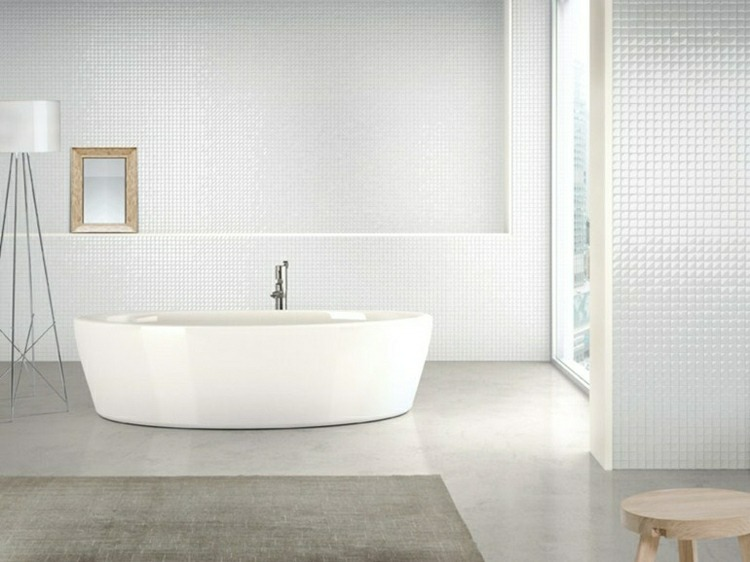 bonito baño mosaico color blanco