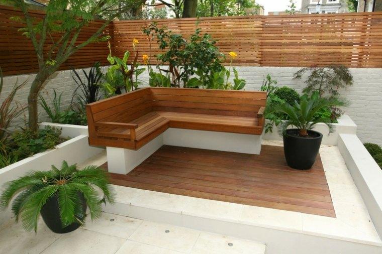 bonito diseño banco piedra terraza