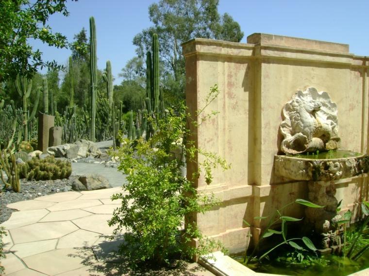 bonito jardin estupendos cactus fuente