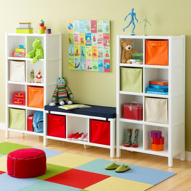 Estanter as para habitaciones infantiles 50 ideas geniales for Mueble juguetero