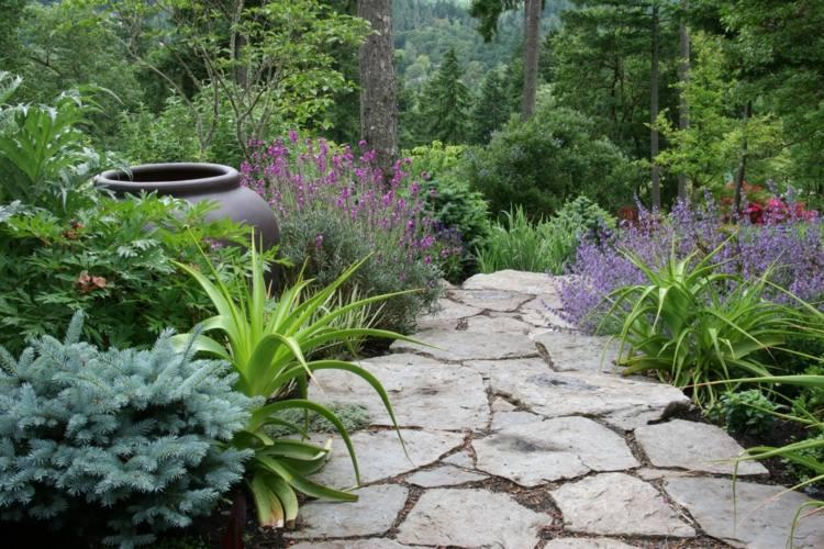 decorar jardines rusticos - ideas decorativas con piedra y madera -