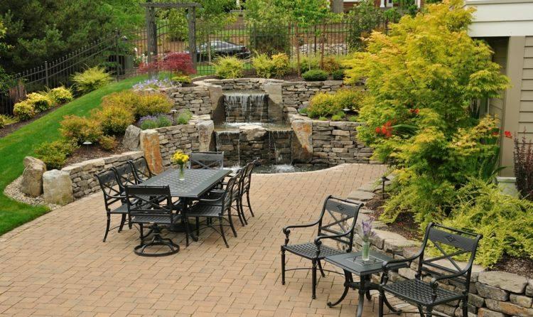 caidas agua lugar descanso jardin amplio ideas