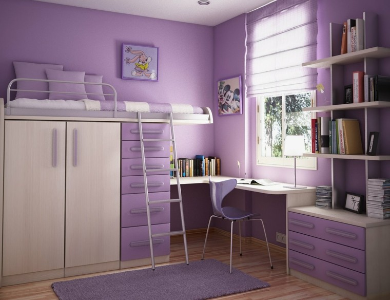 cama alta armario debajo color purpura ideas