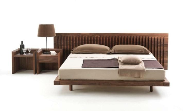 cama diseño moderno estructuras maderas marrones