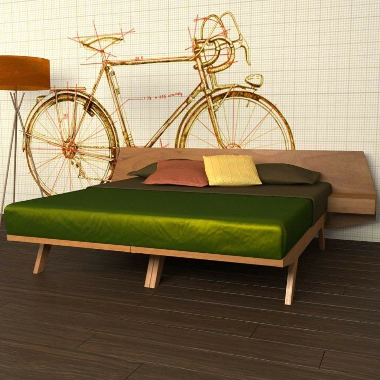 cama diseño moderno verdes bicicletas tejidos