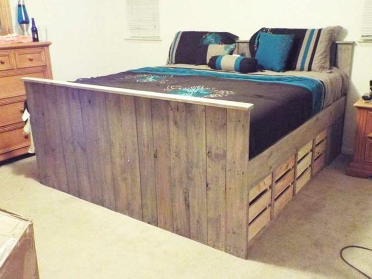 cama grande madera palet