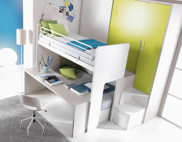 Camas infantiles de dise o moderno comodidad y diversi n - Cama litera con escritorio debajo ...