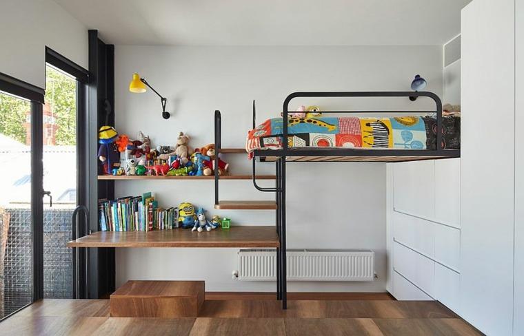 cama litera escritorio estantes