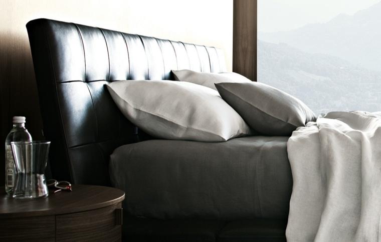 cama piel cabecero color negro