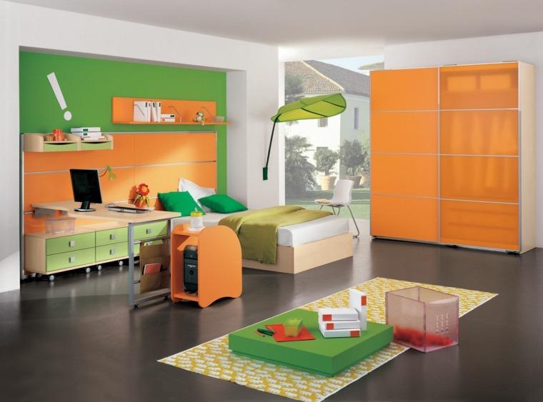 camas infantiles dormitorio moderno naranja verde ideas