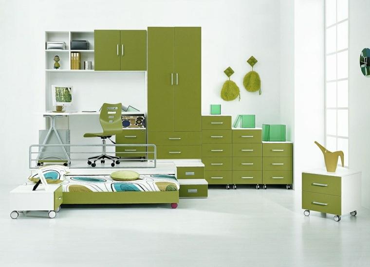 Camas infantiles 50 dormitorios modernos - Dormitorio verde ...