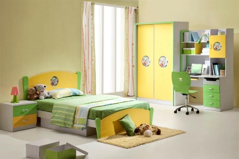 camas infantilies dormitorio verde amarillo ideas