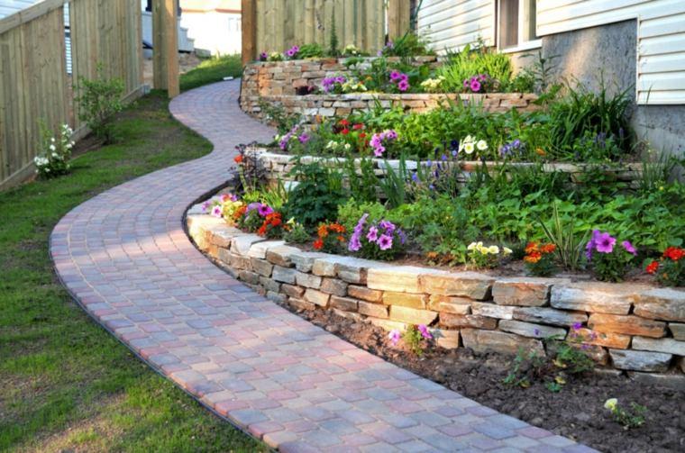 camino jardin terrazas murallas piedras ideas
