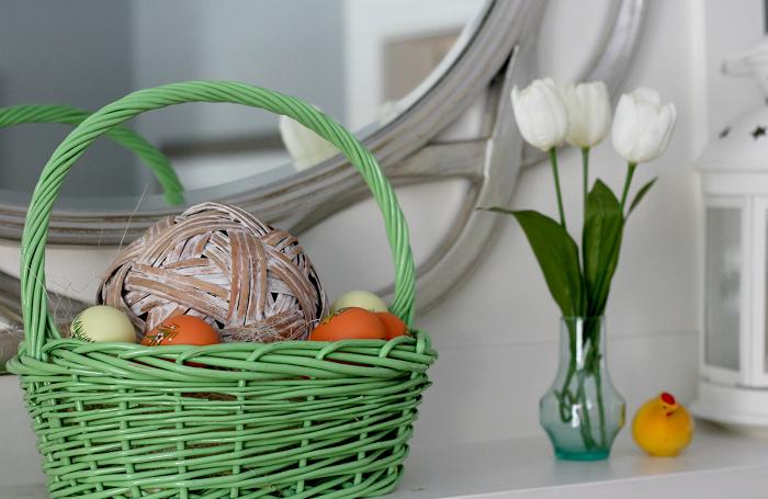 canasta verde frutas tulipanes jarron pequeno ideas