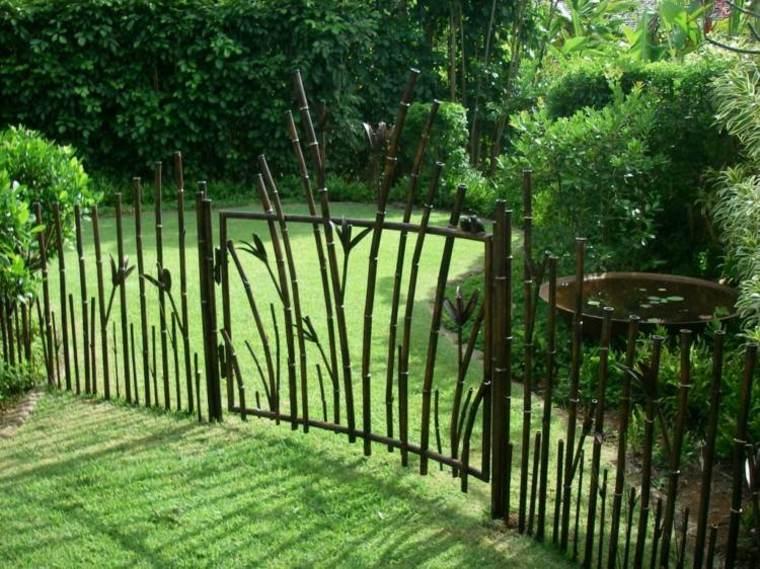 valla puerta cañas bambú