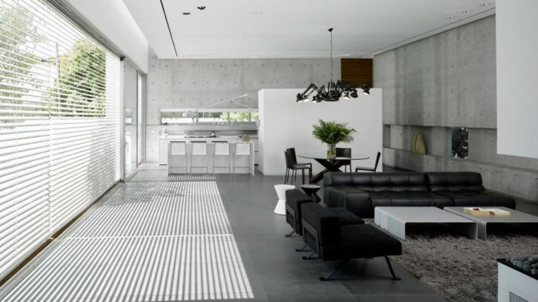 casa Tel Aviv muebles cuero negro salon ideas