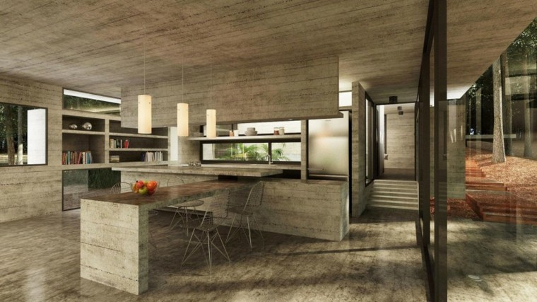 casa bosque cocina barra pared hormigon ideas