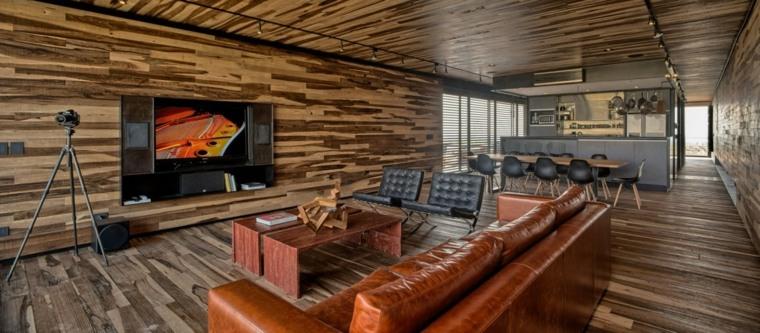 casa contemporanea Tunuyan madera sofa cuero ideas