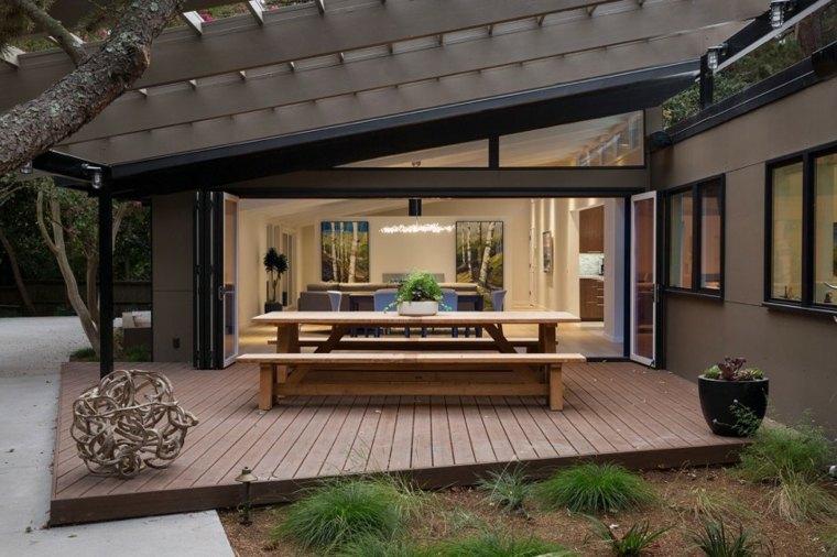 casa diseno terrazas mesa bancos madera ideas