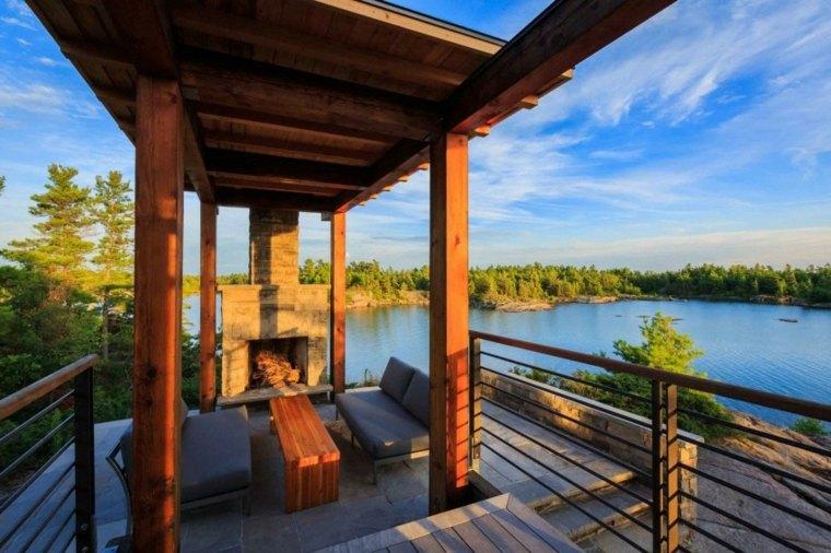 casa diseno terrazas opciones casas campo chimenea ideas