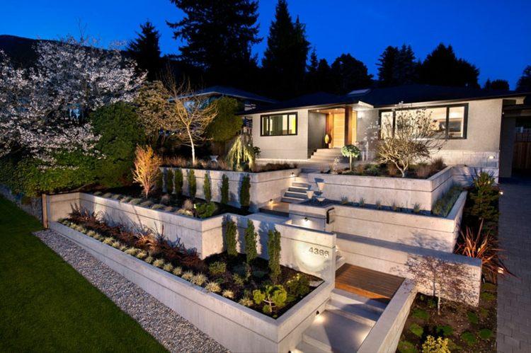 casa moderna terrazas cemento jardin