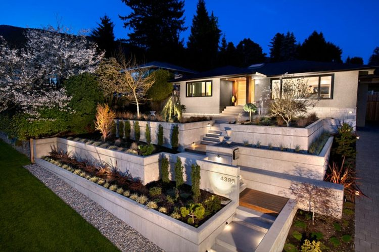 casa moderna jardin aterrazado