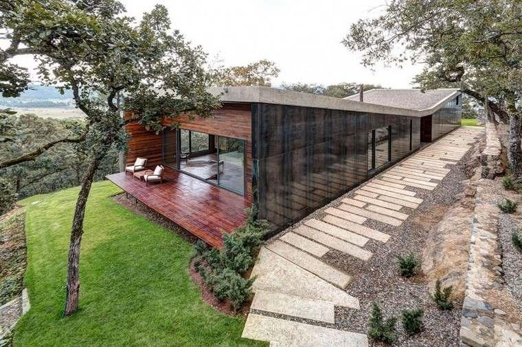 casas con encanto jardin cesped ideas