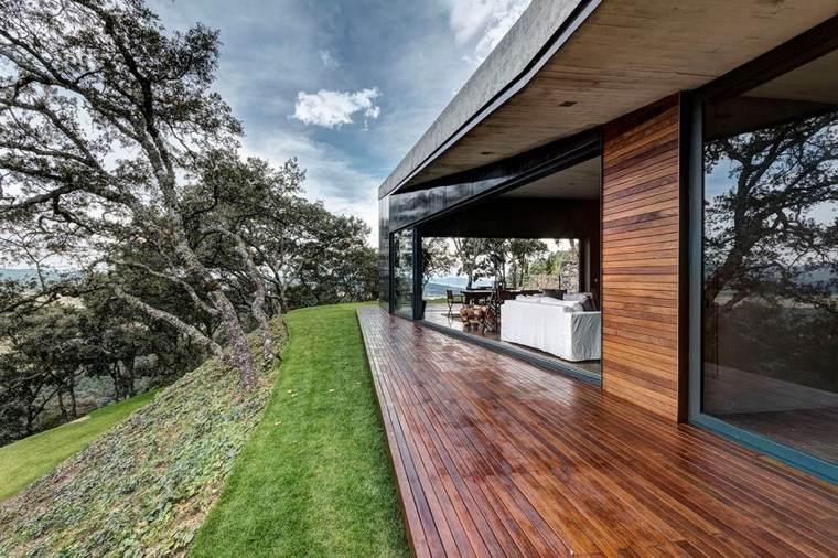 casas con encanto jardin suelo madera terraza ideas