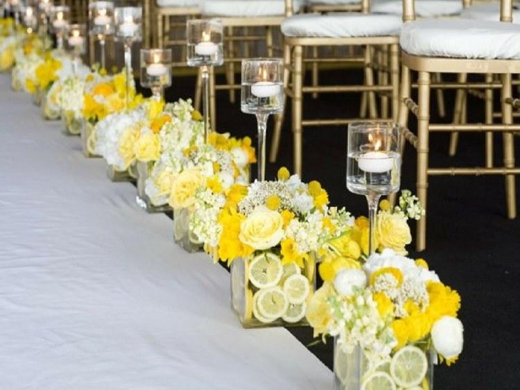 centros mesa boda flores limones
