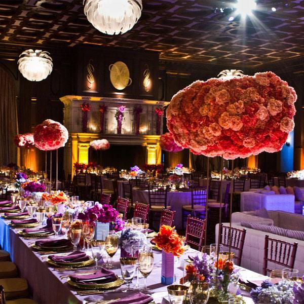 centros de mesa para bodas alto rosas bolas ideas