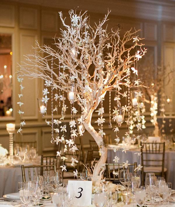 centros de mesa para bodas arbol orquideas colgando ideas