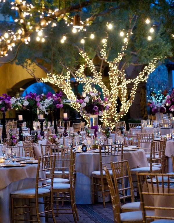 centros de mesa para bodas bosque lamparas arboles ideas